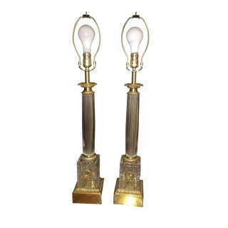 Antique Glass Column Lamps - A Pair