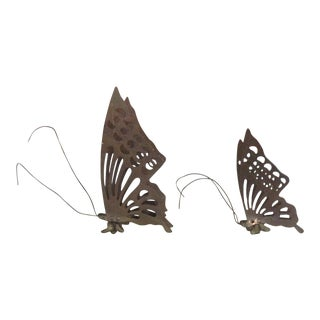 Vintage Brass Butterfly Desk Ornaments - Pair