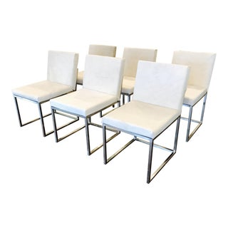 Set of 6 White Cowhide on Steel Dining Chairs