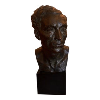 Antique Early 20th C Bronze Bust Sculpture