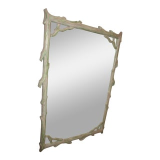 Color Washed Carved Wood Faux Bois Mirror