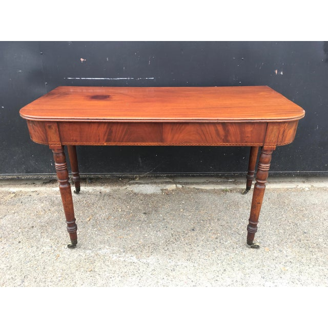 Antique English Walnut Writing Desk on Brass Casters - Image 11 of 11