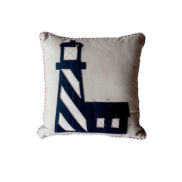 Image of Rocky Shore Lighthouse Navy Linen Pillow
