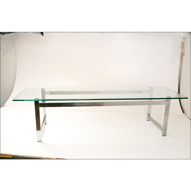 Mid-Century Modern Chrome & Glass Coffee Table - Image 2 of 11