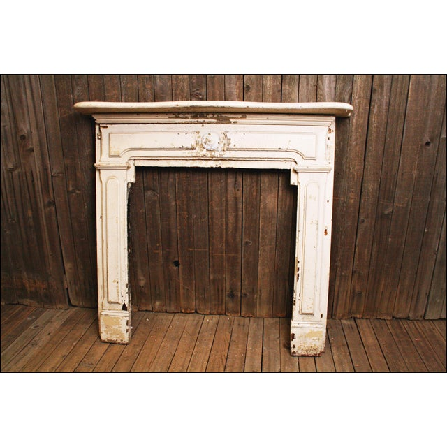 Antique Original Chippy White Painted Wooden Fireplace Mantel - Image 2 of 11