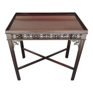 Early 19th C English Chinese Chippendale Style Mahogany Tea or Silver Table