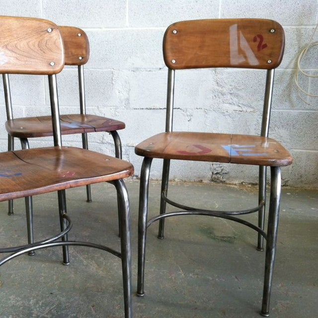 Mid-Century School Table Chairs - Set of 3 - Image 3 of 4