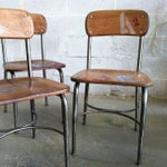 Image of Mid-Century School Table Chairs - Set of 3