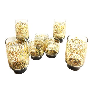 Vintage 1960s Amber Colored Libbey Glassware With Yellow and Orange Retro Designs - Set of 7