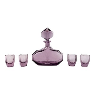 Art Deco Amethyst Glass Decanter and Glasses - Set of 5