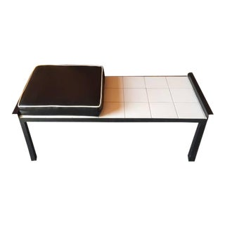Vintage Black White Metal Tile Bench With Vinyl Seat