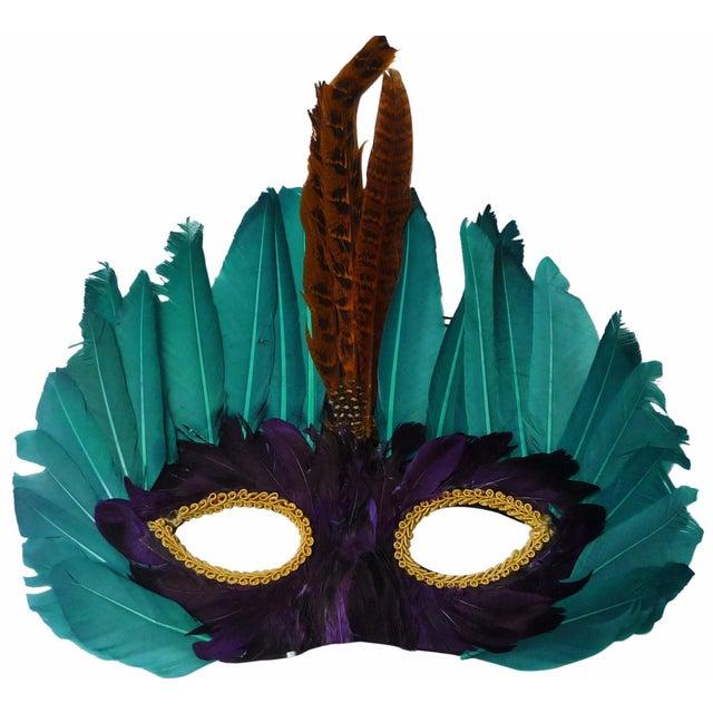 Vintage 1960s Mardi Gras Feather Mask - Image 1 of 4