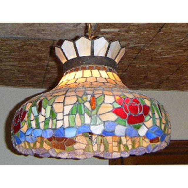 Antique Tiffany Hanging Lamp Value: Antique Tiffany Style Stained Glass Hanging Chandelier