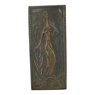 Brass Relief Art of Women in Field