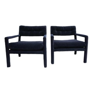 Baughman Style Black Velvet Open Arm Chairs - A Pair