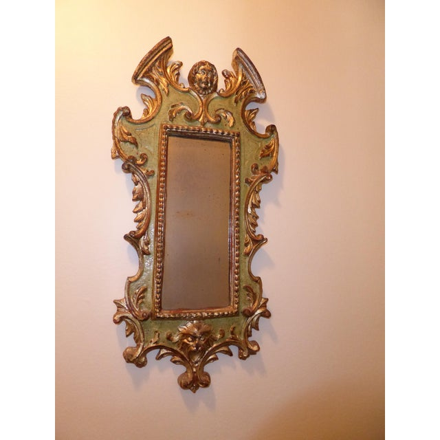 Vintage Rococo Green & Gold Gilt Carved Wood Mirror - Image 4 of 11