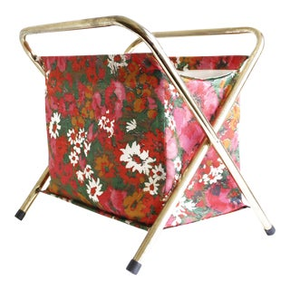 Vintage Folding Sewing Basket Floral Fabric & Brass Retro Storage Mid Century
