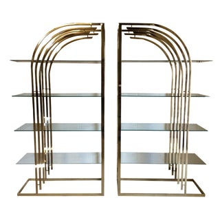 Brass & Glass Etageres - A Pair