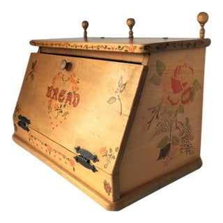 Vintage Stenciled Wood Bread Box