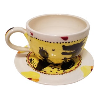 Hand Painted Folk Art Style Cup & Saucer
