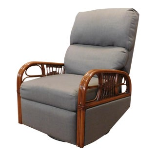 Vintage Early 1990s Rattan Framed Swivel and Rocking Recliner Chair