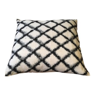 Black & White Lattice Ikat Pillow Cover
