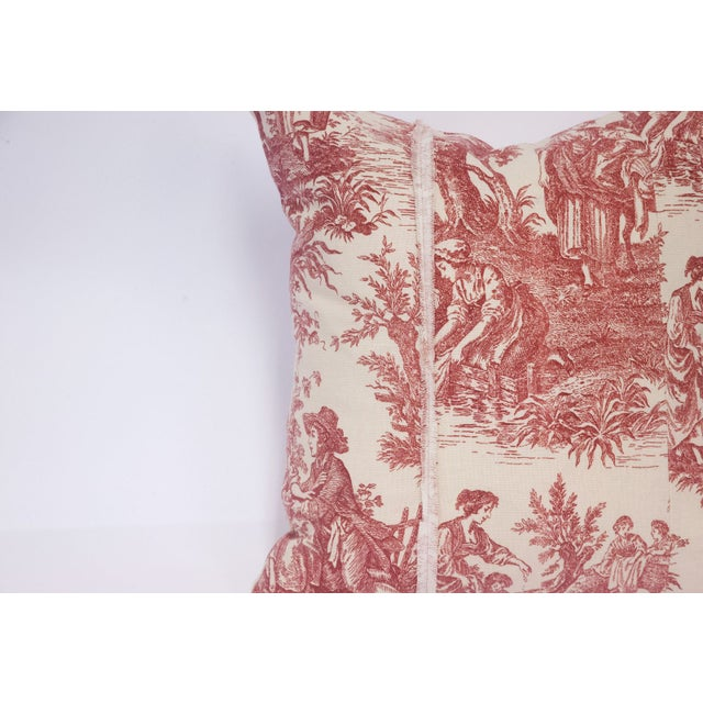 Red & Cream Deconstructed Toile Pillows - A Pair - Image 5 of 8
