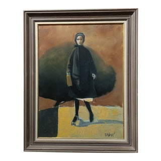 Girl With a Black Coat - 1961 Mid-Century Modern Oil Painting by Weber