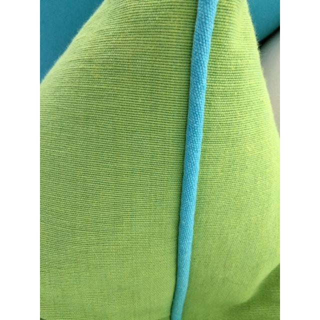 Lime Green With Turquoise Contrast Welt Pillow - Image 3 of 6