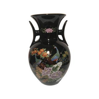 Black Chinoiserie Vase With Peacock Motif