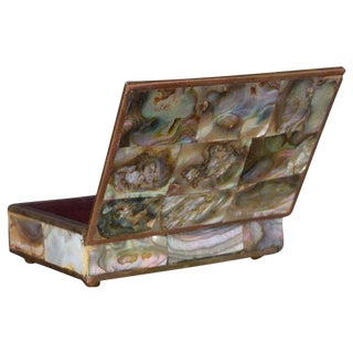 Mexico Taxco Mid-Century Modern Abalone, Brass & Rosewood Box
