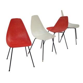 Vintage 1960s Fiberglass Shell Chairs - Set of 4
