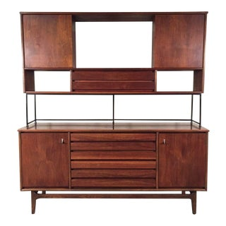 Stanley American Forum Mid-Century Modern Buffet With Hutch