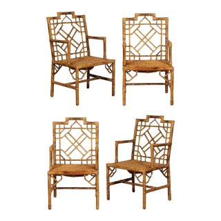 Beautiful Pair of Vintage Rattan Chippendale Style Armchairs