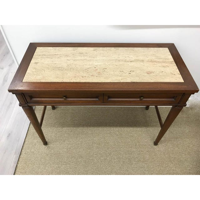 Mid Century Marble Top Console Table, Desk - Signed White Furniture - Image 2 of 8