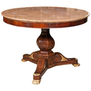 Russian Neoclassical Rosewood Marble-Top Table