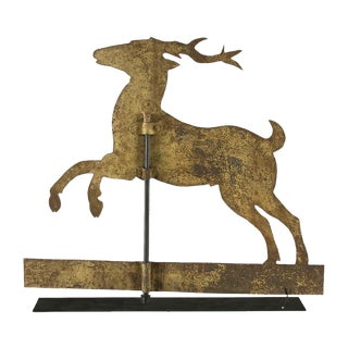 STAG WEATHERVANE WITH TREMENDOUS, YELLOW-PAINTED SURFACE, 1840-1870