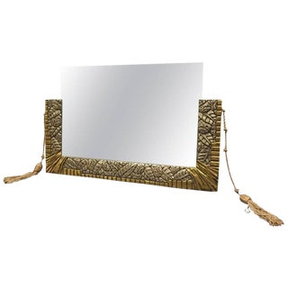French Art Deco White and Yellow Gold Geometric Foliage Mirror
