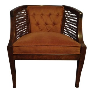 Vintage Mid-Century Modern Barrelback Cane Chair