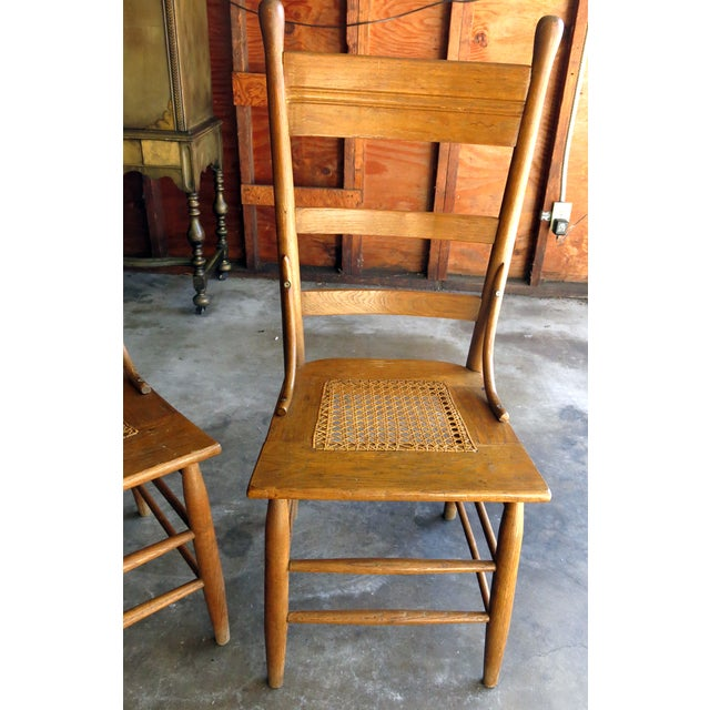 Caned Seat Antique Chairs - A Pair - Image 6 of 6