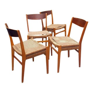 Danish Teak Rope Woven Dining Chairs - Set of 4