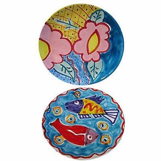 Spanish Hand-Painted Pottery Plates - A Pair