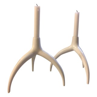 Sculptural Bone Style Candle Holders - Pair
