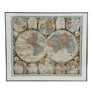 Hand Colored Reproduction 17th Century World Map