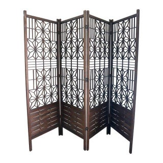 Vintage 1960's Geometric Wood Floor Screen