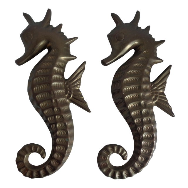 Mid Century Seahorse Wall Hangings - Pair - Image 1 of 4