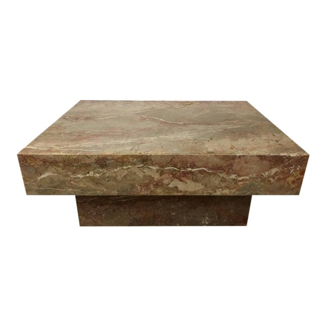 Substantial Rectangular Marble Cocktail Table - Image 1 of 7