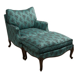 1960s Turquoise Chair & Ottoman