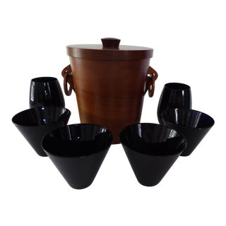 Vintage Teak Ice Bucket With 4 Black Cocktail and 2 Wine Glasses