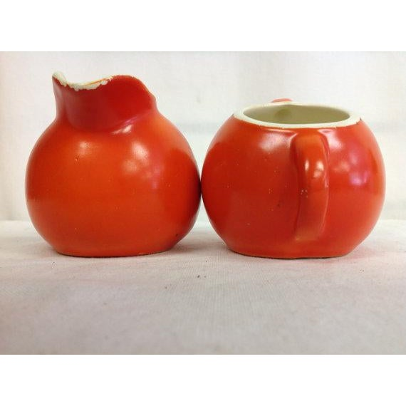 Vintage Fiesta-Style Orange Creamer & Sugar Bowl - Image 3 of 6